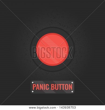 Panic button sign. Vector illustration of a red emergency stop button on black rusty  panel. Touch, push or press symbol.