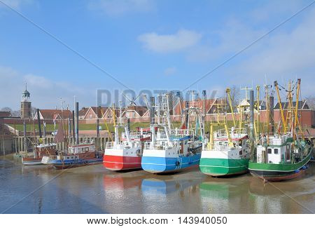 Low Tide in Harbor of Ditzum at german North Sea,East Frisia,Germany