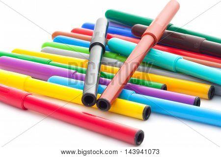 Set Of Felt-tip Pens On White Background