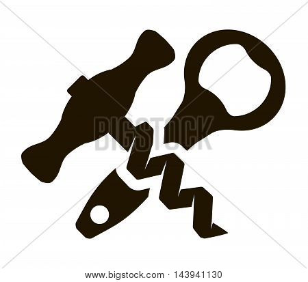 bottle opener and corkscrew. simple flat icons on a white background