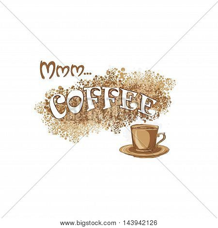 coffee background for coffee menu with a cup coffee pot and coffee crumbles. it is suitable for shop cafe restaurant