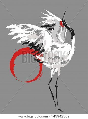 stylized dancing Japanese cranes on the background the red sun