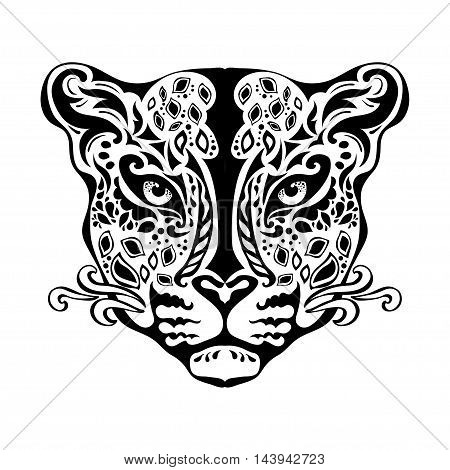Ornamental decorative isolated black jaguar's muzzle on a white background. Can be used for t-shirt poster tattoo textile element for card design. Hand drawn vector illustration