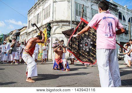 PHUKET THAILAND - SEPTEMBER 28: Phuket Vegetarian Festival in Phuket Town Phuket Thailand on the 28th September 2014.