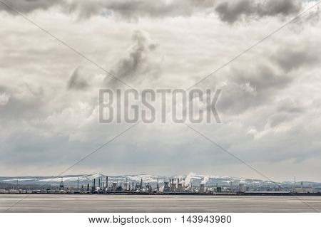 Grangemouth refinery on the River Forth Scotland in winter.