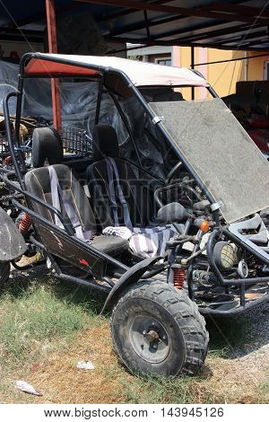 1st august 2016, CALIS, TURKEY; A two seater quad vehicle for hire at Calis in Turkey,1st august 2016