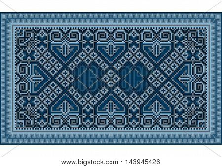 A refined luxurious vintage oriental carpet with dark blue and bluish shades