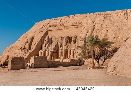 Carved statue of Ramesses II at Abu Simbel in Egypt.
