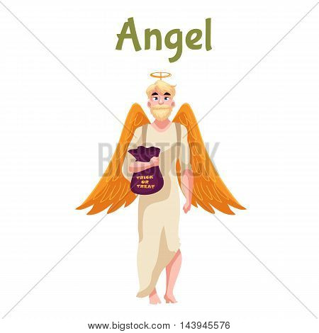 Man dressed in angel costume for Halloween with wings and nimbus, cartoon style vector illustration isolated on white background.