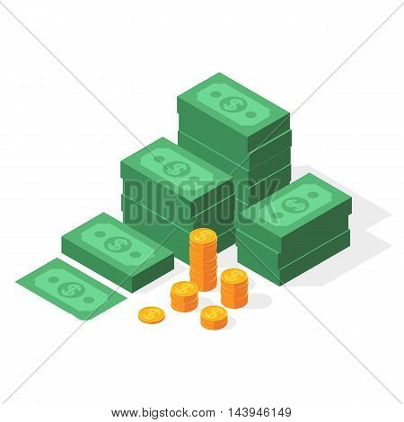 Big stacked dollar pile of cash and gold coins. Money in isometric style. Business and finance concept. Vector illustration isolated on a white background