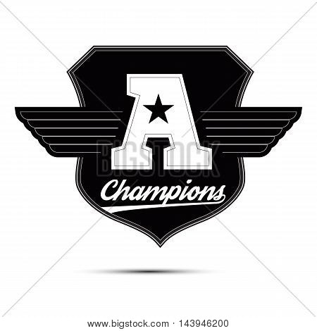 Varsity college university champions division team sport label typography, t-shirt graphics for apparel.
