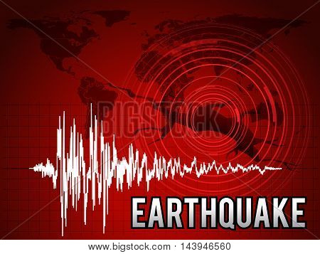 EarthQuake - frequency wave map world circle wave and crack floor vector red tone art design