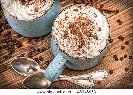 Hot chocolate with whipped cream in mug