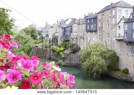 Neighbourhood in Oloron Saint Marie France in summer