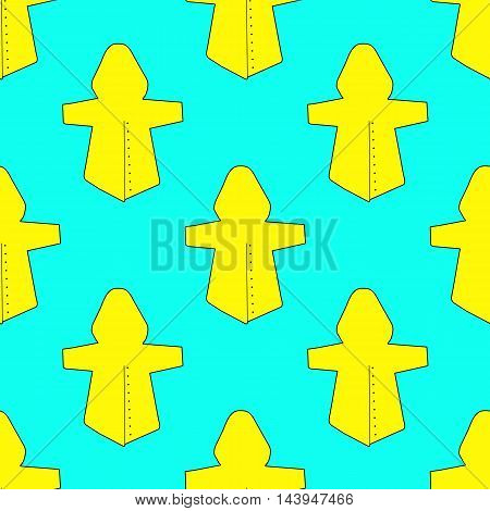 Yellow raincoats on blue background. Seamless pattern. Vector illustration.