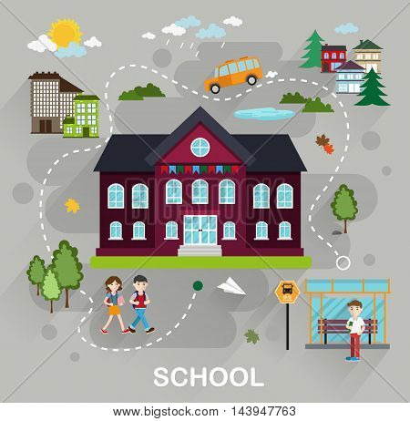 Landscape with students school bus school building in flat style. Back to school education concept illustration for web design layout banner diagram infographics.