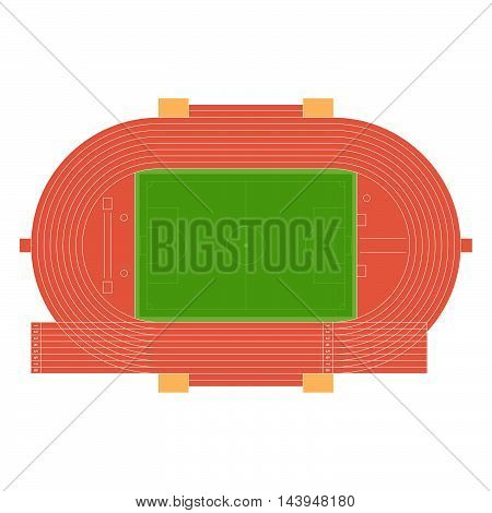 Top view of running track and soccer field, place for throw disk and hammer, long jump isolated on white background. Summer sport stadium. Vector illustration