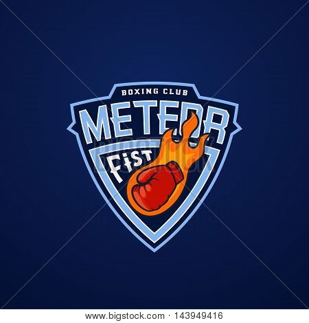 Meteor Fist Abstract Vector Sport Emblem or Logo Template. Glove as a Comet Sign. Shield Fighting Boxing Club Label. Punching Hand Symbol. On Blue Background.