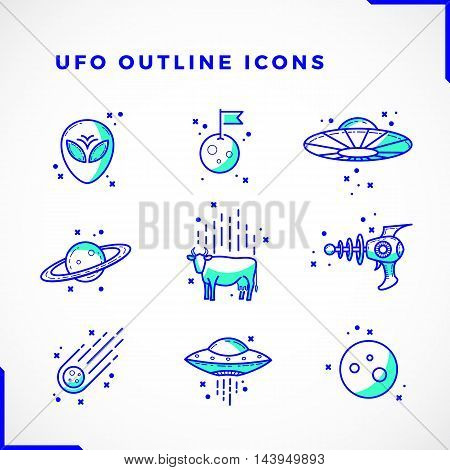 Vector UFO or Alien Icons Set Outline Style . Premium Space Symbols and Signs. Bright Techno Colors. Isolated.