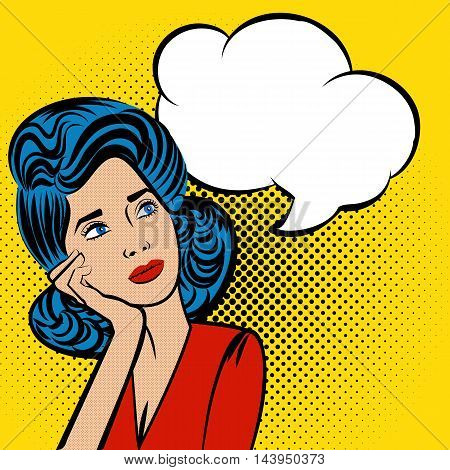 Attractive young blue hair woman thinking. Speech colored bubble Pop-Art Style. lichtenstein pop art. Pop art comic blue background space comments background template. Vector illustration