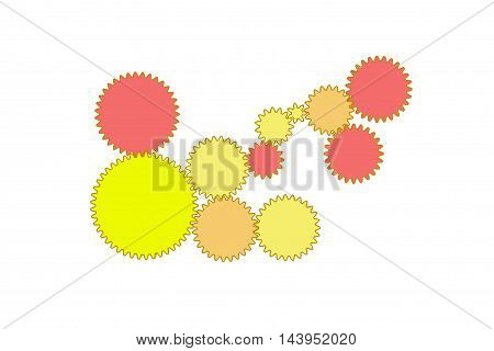 gears on a white background, with colors, red and yellow