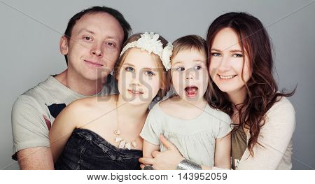 Happy Family. Father Mother and two Children (3 and 10 years old)