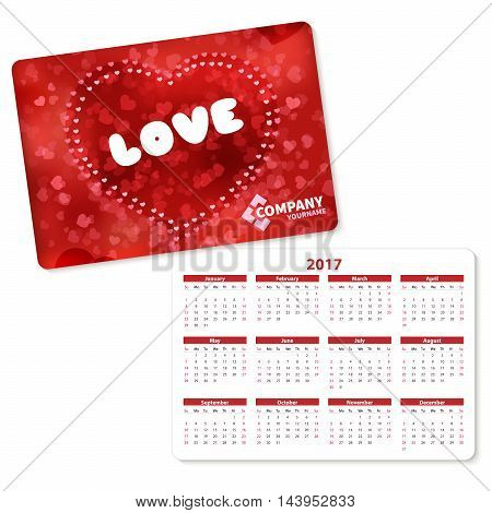 Horizontal pocket calendar on 2017 year. Vector template pocket calendar with illustration red heart and text love.