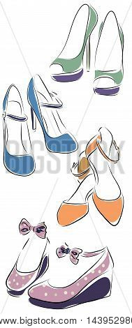 Collection of Woman Shoes. Vector of Female Set of Shoes