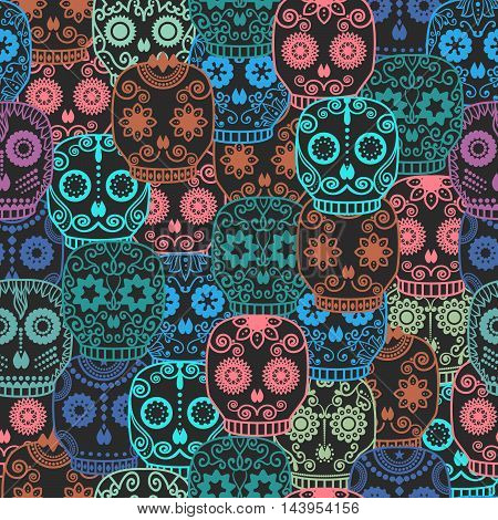 Halloween Background Day Of The Dead Vector Illustration