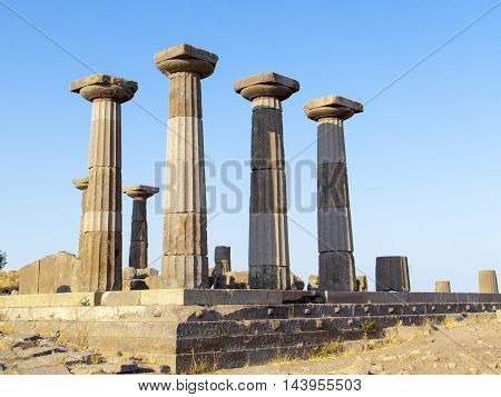 The ruins of the temple of Athena in the ancient city of Assos in Turkey.