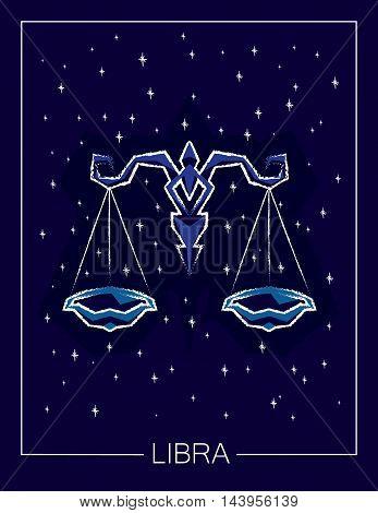 Zodiac sign Libra on night starry sky background. Vector illustration.