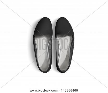 Black blank women shoes mockup stand isolated, top view, clipping path. Female ballet foot wear design mock up with clear insole. Clean lady footwear template wth flat slip. Dance girls shoe display.