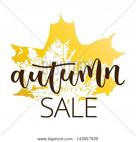 Autumn sale hand written inscription with fall maple leaf on white background