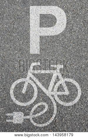 Parking Lot Sign E-bike E Bike Ebike Park Electric Bike Electro Bicycle Eco Friendly Town