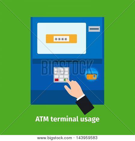Credit plastic card usage. ATM terminal vector illustration