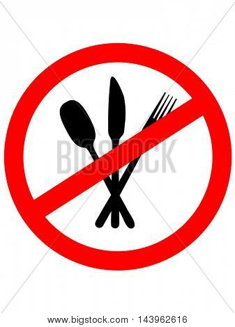 No Eating Sign. No food. Vector illustration.