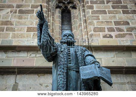 Johannes Honterus statue in front of Black Church in Brasov (Romania)