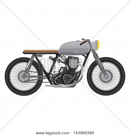 Vintage motorcycle, metallic color. cafe racer theme