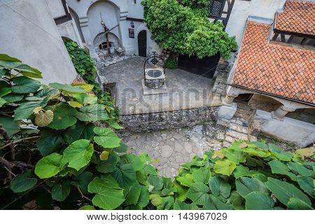 Courtyard of Bran Castle known as Dracula's Castle near Bran in Romania
