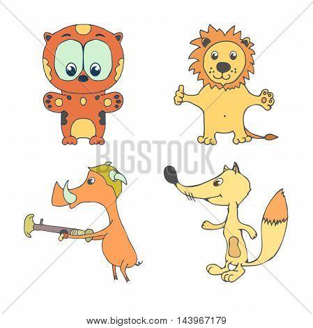 Vector illustration of cartoon pig fox leo leopard. Set of wild animals included wildlife