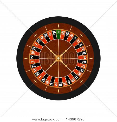 Vector Casino Gambling Roulette Wheel isolated on white background.