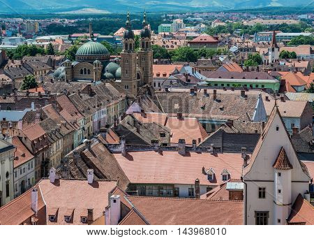 Aerial view with Orthodox Holy Trinity Cathedral in Sibiu in Romania