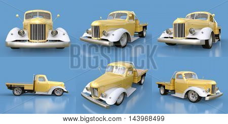 Set Old Restored Pickup. Pick-up In The Style Of Hot Rod. 3D Illustration. Golden-white Car On A Blu