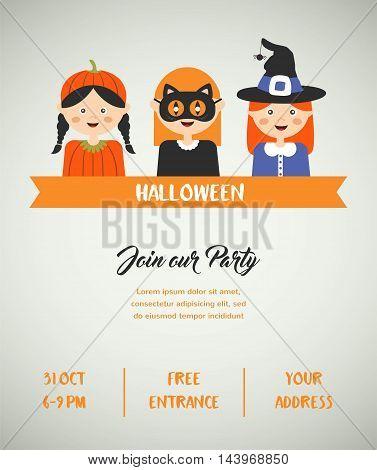Happy Halloween. Set of cute cartoon children in colorful halloween costumes.vector illustration