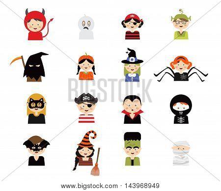 Set of 16 halloween costume characters , vector illustration
