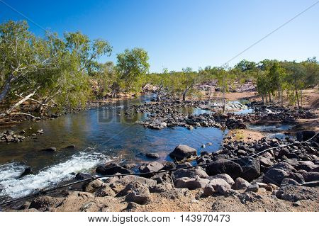 O'Brien's Creek campground and river near Mount Surprise in Queensland, Australia