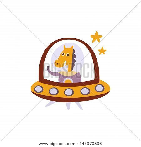 Horse Driving A Flying Saucer Stylized Fantastic Illustration Childish Simplified Funny Flat Drawing On White Background