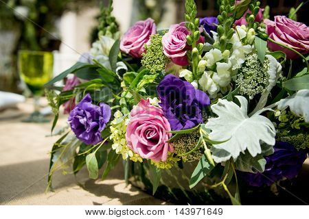 Floral Table Centerpiece At A Wedding Reception