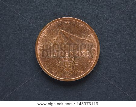2 Euro Cent Coin From Slovakia Showing Tatras Mountains