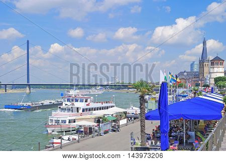 Promenade at Rhine River in Duesseldorf called Rheinuferpromenade,North Rhine Westphalia,Rhineland,Germany